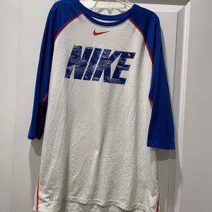 "Men's ""Nike"" 3/4 sleeve athletic Dri-fit shirt"